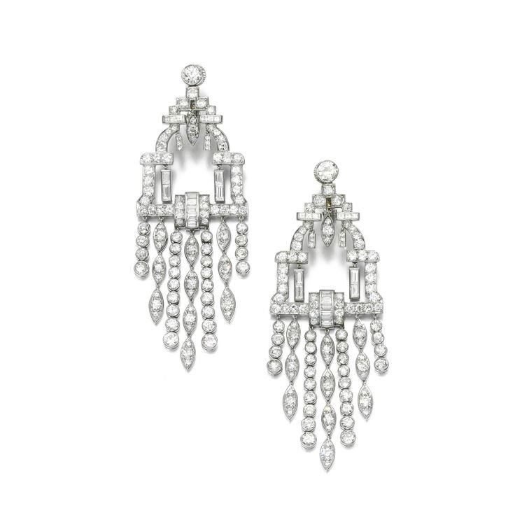 Pair of diamond earrings, 1930s and later