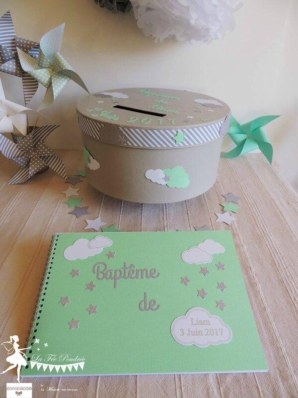 livre or urne vert mint argent blanc gris bapteme theme nuage etoile
