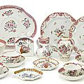 An assembled group of chinese export porcelain famille-rose tea and dinner wares, 18th century