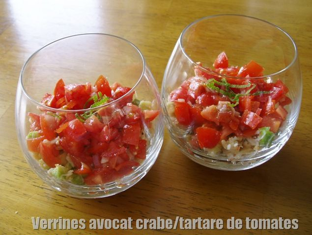 verrines avocat crabe tartare de tomates sabinoumiam. Black Bedroom Furniture Sets. Home Design Ideas