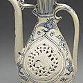 Vietnamese ewer with bird-and-flower dcor in underglaze blue. Late 15th-early 16th centuries.