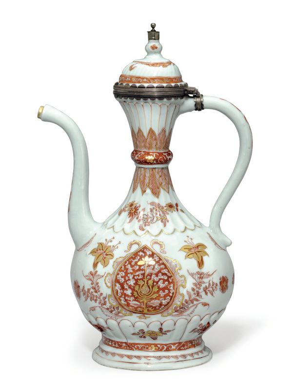 A rare iron-red and gilt ewer and hinged cover, Kangxi period (1662-1722)