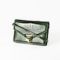 Hermes paris made in france. sac pan 25cm en crocodile niloticus vert foncé