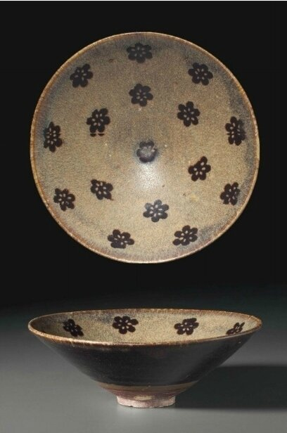 A Jizhou resist-decorated paper-cut conical bowl, Southern Song Dynasty, 12th-13th century