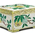 A famille-verte biscuit square box and cover, qing dynasty, kangxi period (1662-1722)