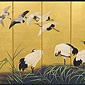 Suzuki kiitsu (japanese, 1796-1858), reeds and cranes, 19th century