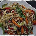Spaghettis aux légumes et chorizo