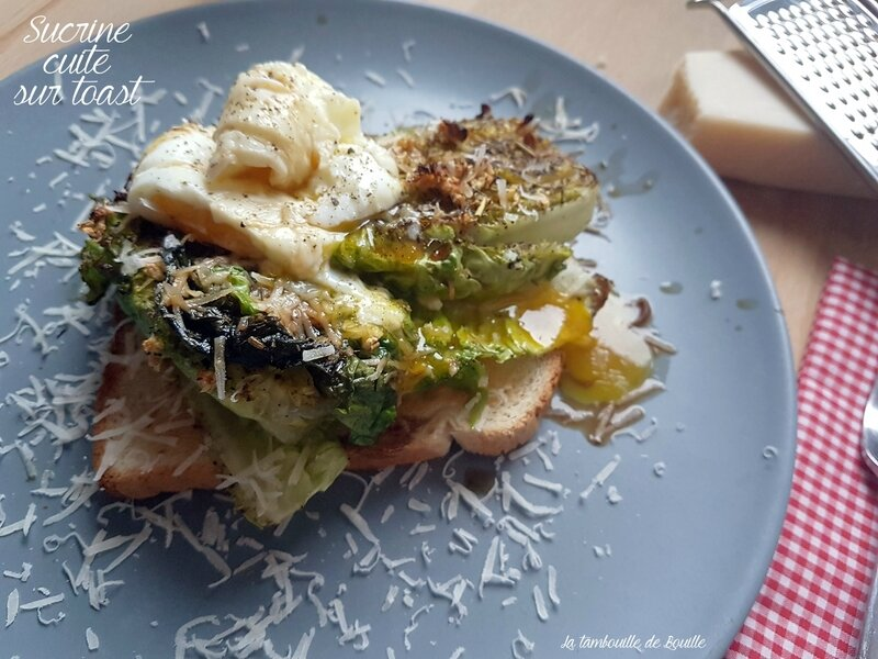 sucrine-cuite-toast-chaud-oeuf-parmesan-balsamique-ail-recette-saine-healthy