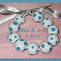 Bleu & gris à pois bracelet