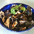 Moules  la citronnelle et  la coriandre
