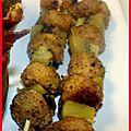 Menu noisette #3 : brochette de saint jacques panées à la noisette, kiwi rôti