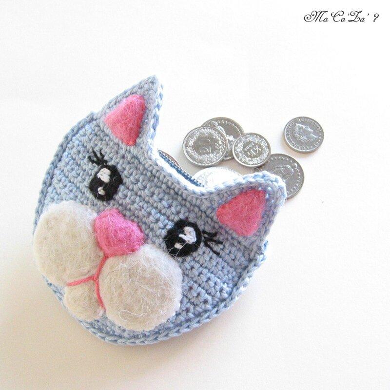 Porte-monnaies chat au crochet et feutrine 3