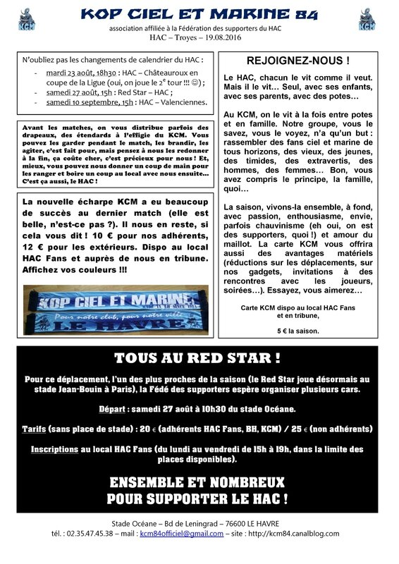 Feuille d infos HAC - Troyes 19