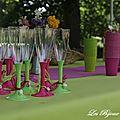 Décoration de verre anis et rose pour un baptême