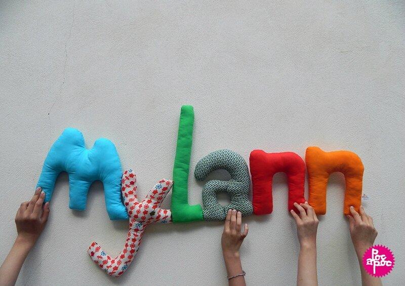 mylann,mot en tissu,mot decoratif,cadeau de naissance,decoration chambre d'enfant,cadeau personnalise,cadeau original,poc a poc blog