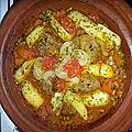 Tajine de boeuf, petits pois, carottes et pommes de terre