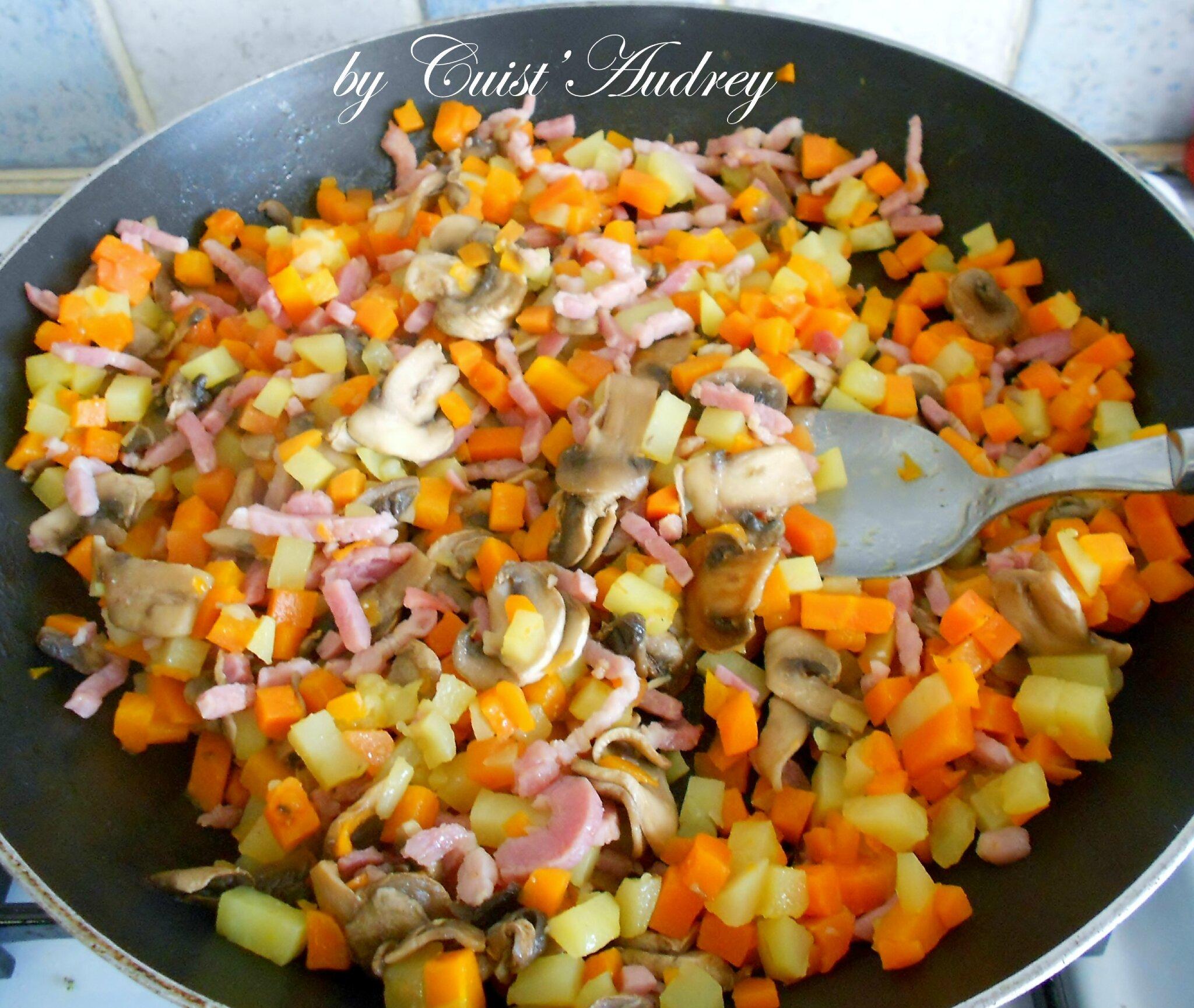 poelee de legumes pommes de terre courgettes carottes champignons