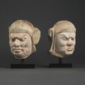 Pair of Lokapala Heads