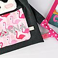 Sac à dos fille panda personnalisé prénom Shanna flamants roses panda personnalized name backpack flamingo