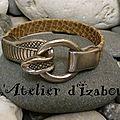 Sssssss ! ssssss! je me faufile tel le serpent de ce bracelet en cuir kaki aspect serpent et son fermoir crochet tête de cobra !