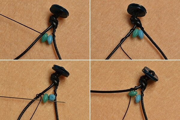 Pandahall Instruction on How to Make Leather Cord Wrap Bracelet with 2-hole Seed Beads (3)