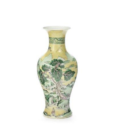 A rare famille jaune baluster vase, Kangxi
