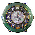 Cartier. Spectacular Art Deco Jade Diamond Set Clock. France, circa 1925