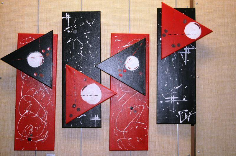 tableau contemporain quadriptyques rouge noir blanc globules l art contemporain abstrait. Black Bedroom Furniture Sets. Home Design Ideas