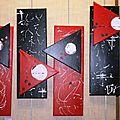 Tableau contemporain, quadriptyques rouge noir blanc