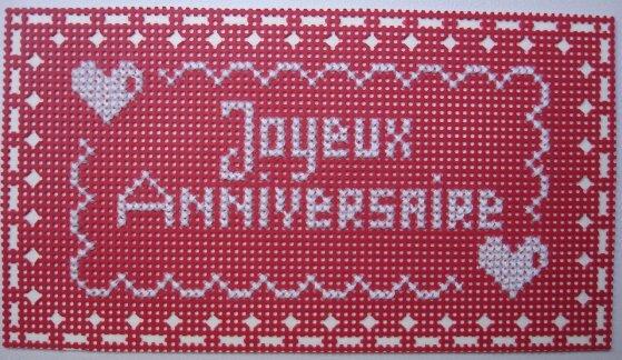 Carte anniversaire-carton perforé brodé_Damalalicorne