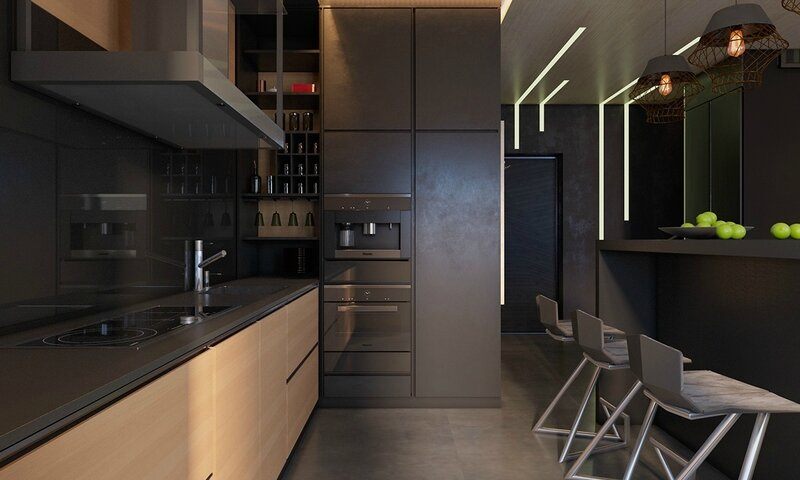 Shaded-grey-kitchen-lght-wooden-bottom-charcoal-cabinetry-light-grey-fade