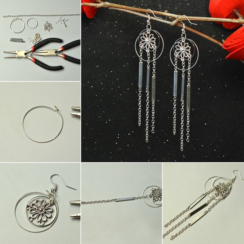 1080-Pandahall-Original-Project-on-How-to-Make-Flower-Dangle-Earrings-with-Silver-Chain-Tassels