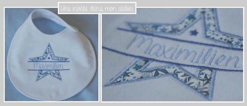 bavoir nouveau né-personnalisé-piqué de coton-Liberty adelajda bleu