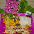 brochettes de fruits de mer  la 