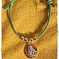 Plaqué or Bracelet vert Vierge enfant