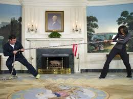 Fallon and Obama doing a tug of war in the wqhite house