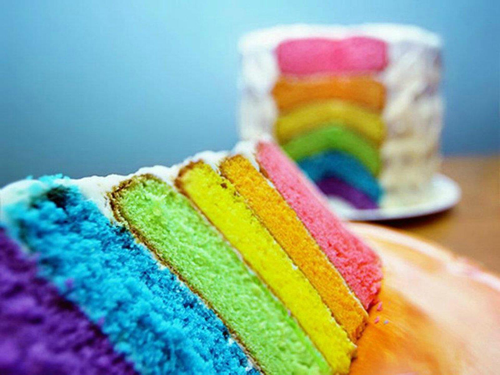 Gateau au yaourt rainbow cake