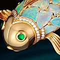 An opal, emerald and diamond brooch, oscar heyman & brothers