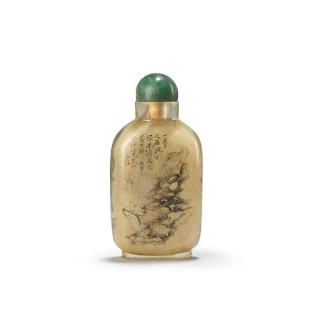 An inside-painted glass 'landscape' snuff bottle. Signed Ding Erzhong, cyclically dated bingshen year corresponding to 1896