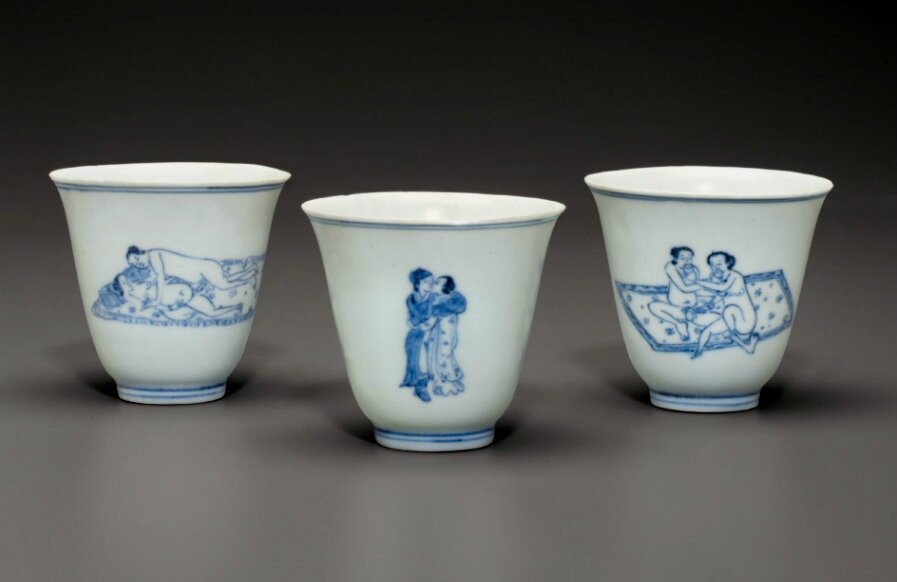 Three blue and white 'Love cups', Chongzhen period, circa 1643