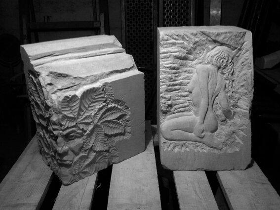 Fu - sculpteur - pierre - taille directe - sculpture nu - femme - tête feuillue - atelier