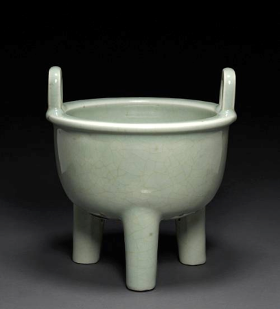 A_celadon_glazed_porcelain_ding_form_censer