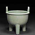 A celadon glazed porcelain ding form censer.18th century