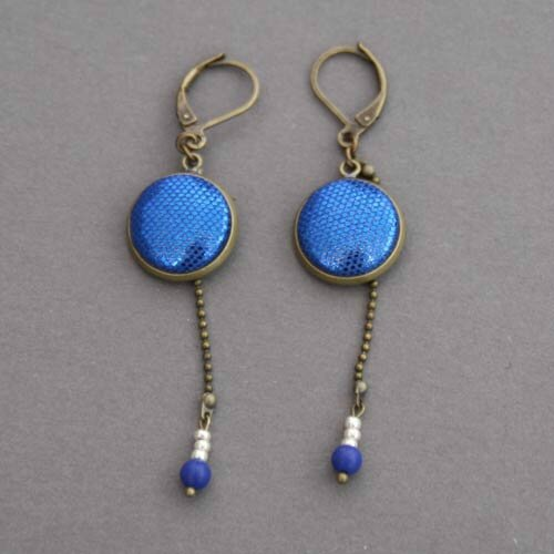 Nouvelles boucles d'oreilles Dormeuses bleues - Les Bijoux d'Ari Paris