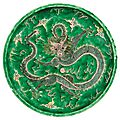 Chinese famille verte glazed porcelain dragon charger, kangxi six-character mark and of the period