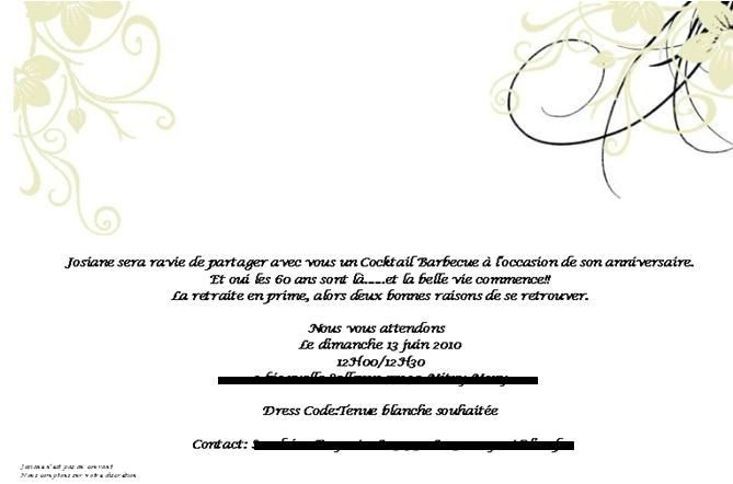 carte invitation anniversaire 60 ans retraite coleteremelly web. Black Bedroom Furniture Sets. Home Design Ideas