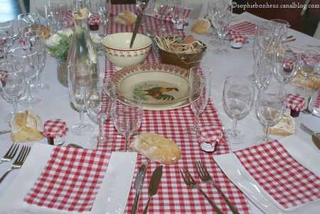 mariage table vichy rouge