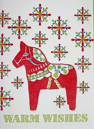 Dala Horse Holiday Letterpress Card from dutchdoor on etsy
