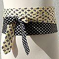 Ceinture cravate marine-jaune
