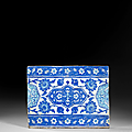 Carreau aux mdaillons floraux bichromes, Iznik, vers 1530